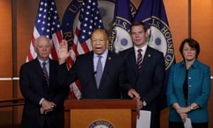 Ben Cardin, the ranking Democratic member of the Senate foreign relations committee, announces proposals for the bipartisan commission with Democratic congressional colleagues on Monday.