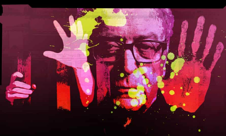 Visual effects company Novak's projection artwork includes an image of actor Michael Caine amid expressionist swirls of colour