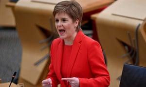 Scotland's first minister Nicola Sturgeon speaks in the Scottish Parliament on Wednesday.