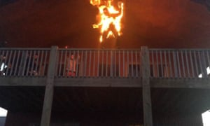 Grant's stunts sometimes involve leaping off a building while on fire (with a fireproof suit, of course).