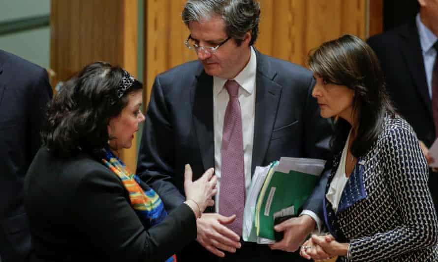 The ambassadors of France, US and UK to the UN