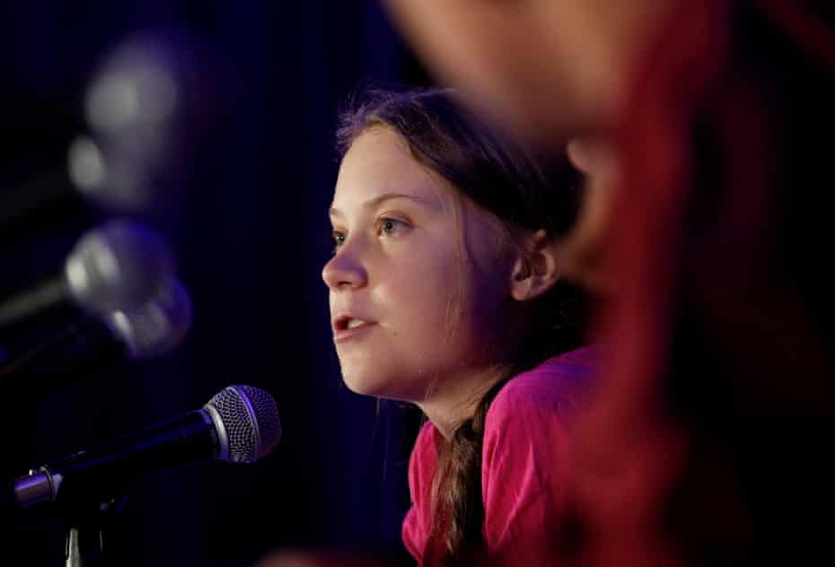 Swedish climate activist Greta Thunberg speaks during a news conference in New York.