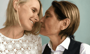 Elizabeth Gilbert and Rayya Elias at the ceremony celebrating their love