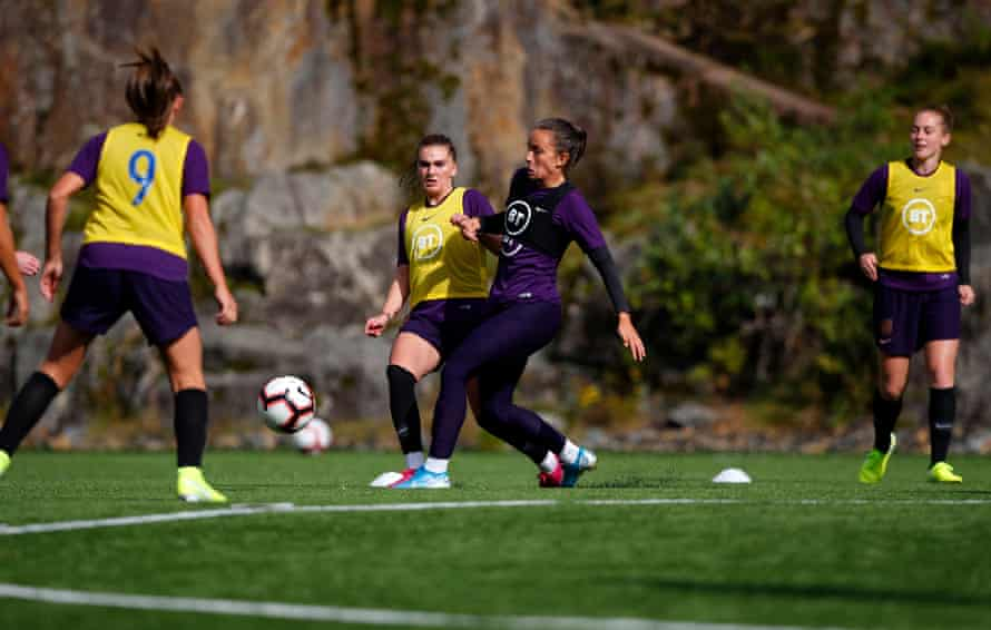 Birmingham City's Lucy Staniforth trains with England in Bergen before the friendly international against Norway.