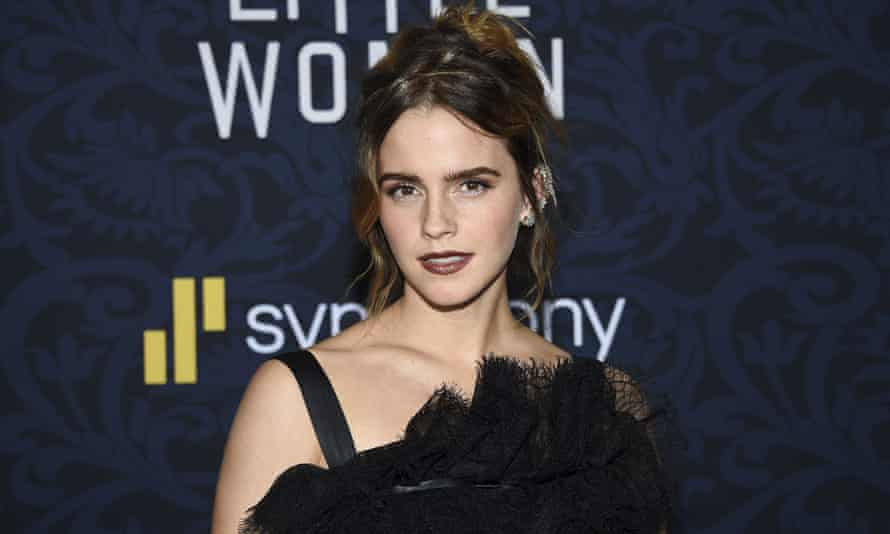 """Emma Watson wearing a Balenciaga gown at the premiere of """"Little Women"""" at the Museum of Modern Art on Saturday, Dec. 7, 2019, in New York."""