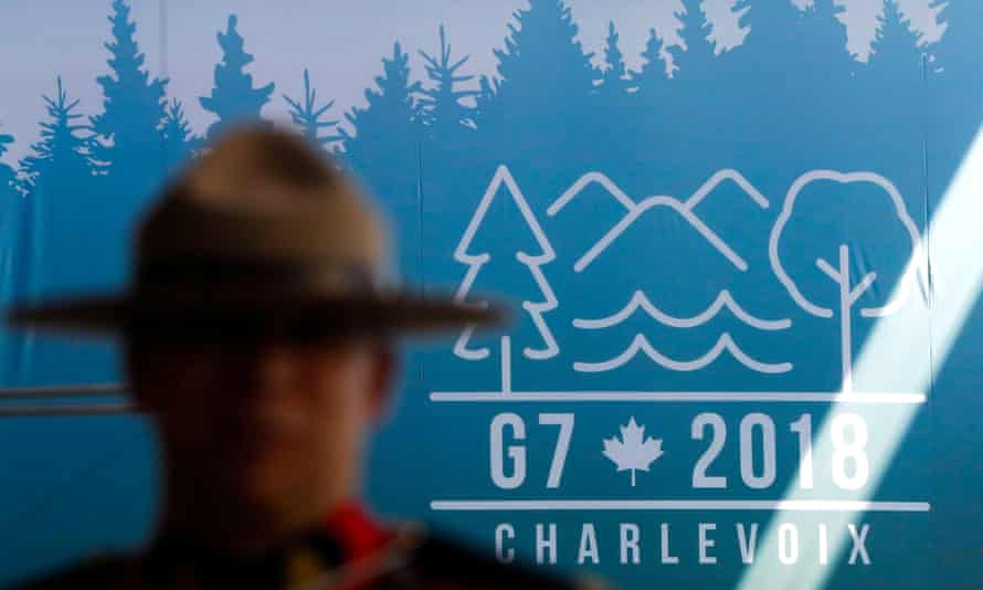 A Canadian mounted police officer at the main press centre for the G7 summit in Quebec.