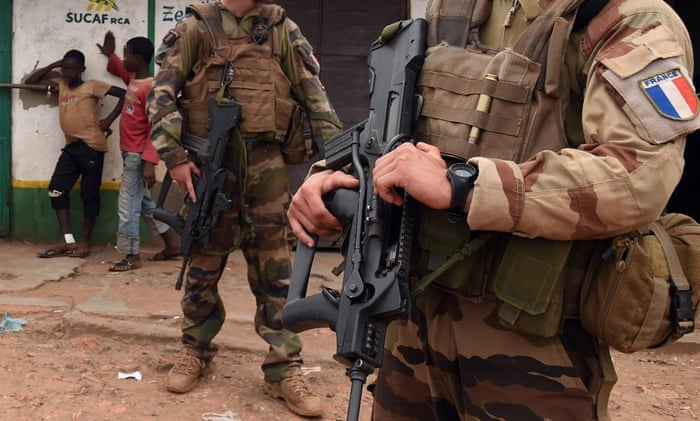 French soldiers on patrol in Bangui. A report into sexual abuse of children by some French peacekeepers has been leaked to French prosecutors