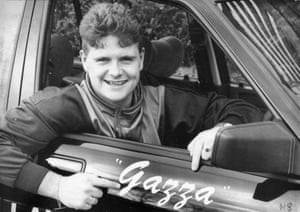 Gazza enjoys his new car in 1988.