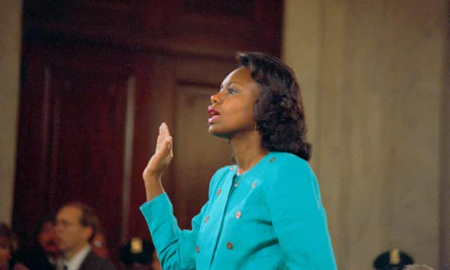 Anita Hill is sworn-in before testifying at the Senate Judiciary hearing on the Clarence Thomas Supreme Court nomination.