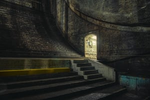The bascule chamber, under the river on the south side of the bridge, through which the bascule counterweights swing when the bridge is lifted
