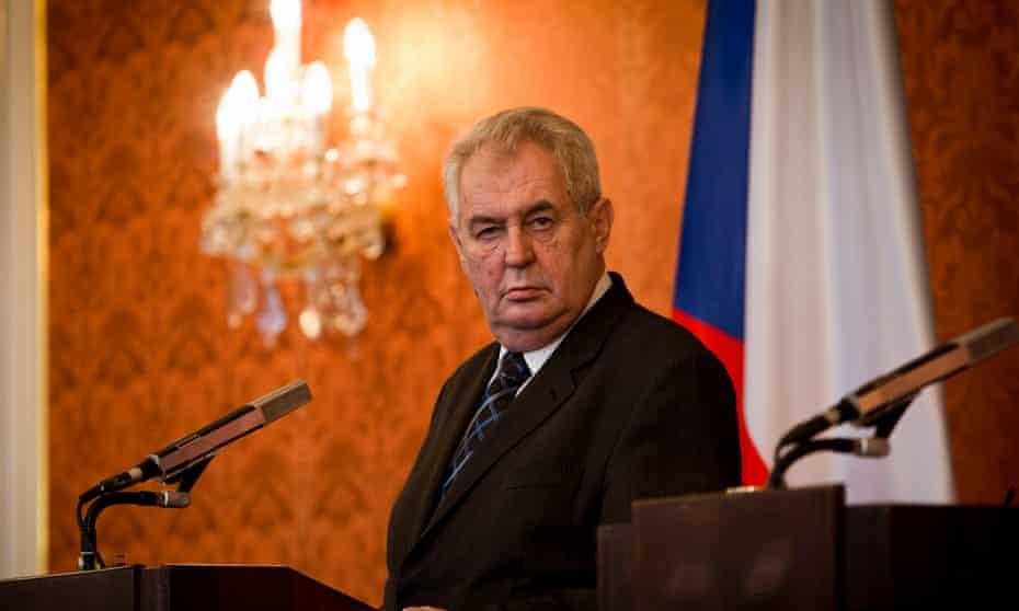 Czech President Milos Zeman attends a press conference at the Prague Castle.
