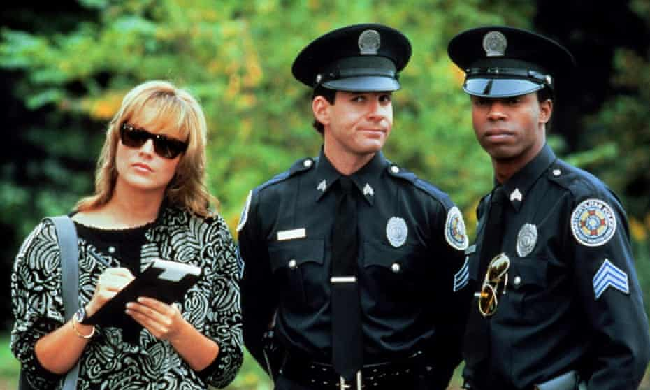 Guttenberg as Mahoney with Sharon Stone and Michael Winslow in Police Academy 4: Citizens on Patrol 1987.