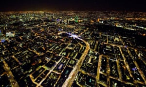 an aerial view of Central London at night.
