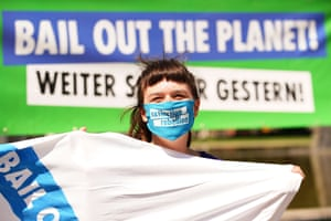 Berlin, Germany A protester with an Extinction Rebellion mask demonstrates in front of the Ministry of Economy
