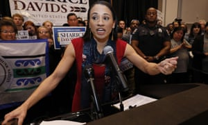Sharice Davids speaks to supporters at a victory party in Olathe, Kansas.