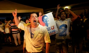 Supporters of Ecuadorean presidential candidate Guillermo Lasso demonstrate in Guayaquil.