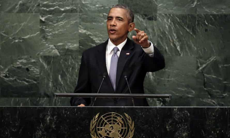 Barack Obama addresses the UN general assembly last year.