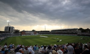 Play was abandoned around 6.30pm BST due to thunderstorms in north-west London.