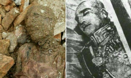 The mummified body found near Tehran and Reza Shah before his burial.