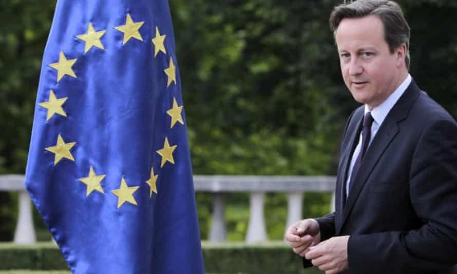 David Cameron and an EU flag. Eurosceptic MPs say Cameron needs to be clearer on what position Britain will take in the EU.