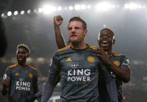 Picture perfect: Leicester City's Jamie Vardy celebrates scoring their first goal with Nampalys Mendy. City drew 1-1 at Brighton