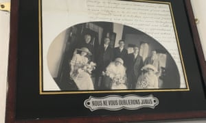 Snapshot … Morag Egan's paternal grandparents' wedding day, 28 January 1921, in Colombo, Sri Lanka, on the wall of a toilet in a Dublin cafe.