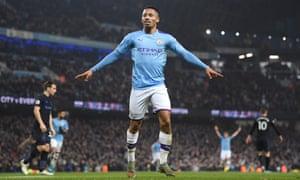Manchester City's Gabriel Jesus celebrates scoring his second.