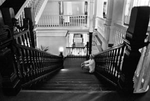 On the stairs at the Raffles in Singapore