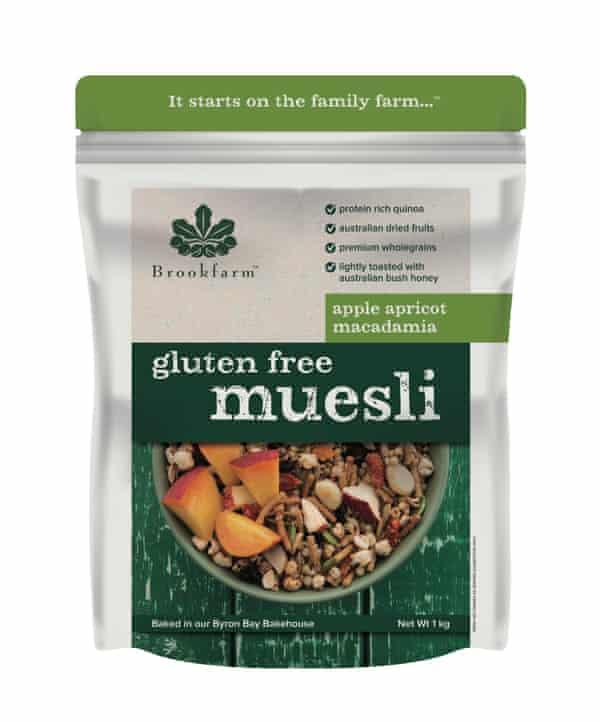A packet of Brookfarm's Apple Apricot Macadamia gluten free muesli.