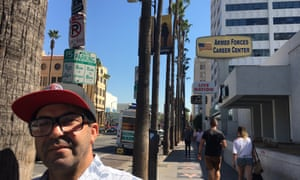 Marcel Hidouche, a tour bus operator, on Hollywood boulevard