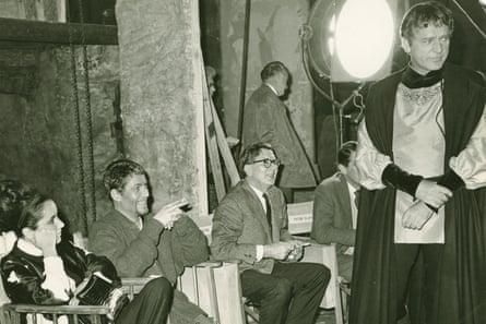 Studio photo of Elizabeth Taylor, Peter O'Toole, and Richard Burton on set of the 1964 film Becket.