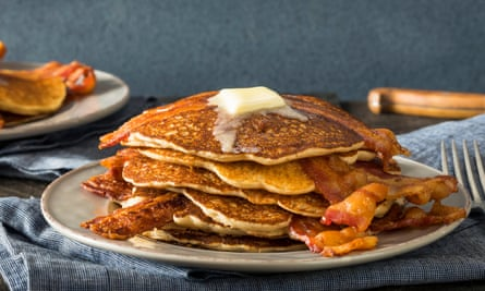 Stack of pancakes and bacon