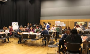 Range of drawing, cartoon and craft activities at the Guardian cartoon and art family day.