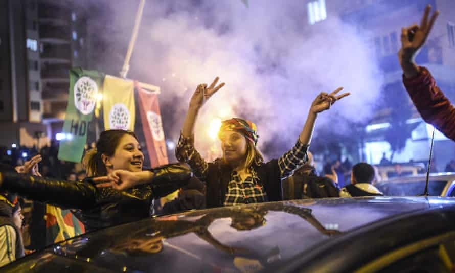 Supporters of Turkey's pro-Kurdish People's Democratic Party (HDP) revel in the southeastern city of Diyarbakir after polls close.