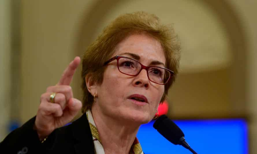 """US House Permanent Select Committee on Intelligence public hearing, Capitol Hill, Washington DC, USA - 15 Nov 2019<br>Mandatory Credit: Photo by Ron Sachs/CNP/REX/Shutterstock (10477154z) Marie """"Masha"""" Yovanovitch, former United States Ambassador to Kyiv, Ukraine, on behalf of the US Department of State, testifies during the US House Permanent Select Committee on Intelligence public hearing as they investigate the impeachment of US President Donald J. Trump. US House Permanent Select Committee on Intelligence public hearing, Capitol Hill, Washington DC, USA - 15 Nov 2019"""