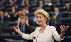 Ursula von der Leyen told MEPs: 'Since 1958 there have been 183 commissioners. Only 35 were women. That is less than 20%.'