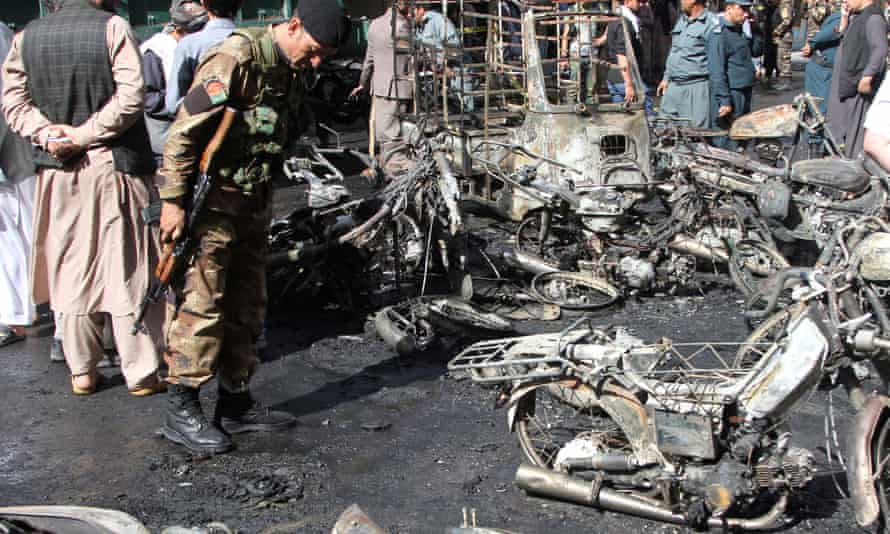 Site of a bombing in Herat, Afghanistan, on Tuesday.