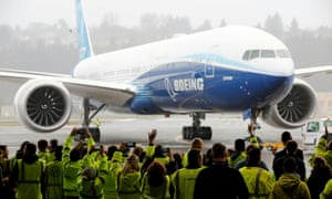 A Boeing 777X airplane returning to a hangar after its first test flight at the company's facility in Seattle on January 25, 2020.
