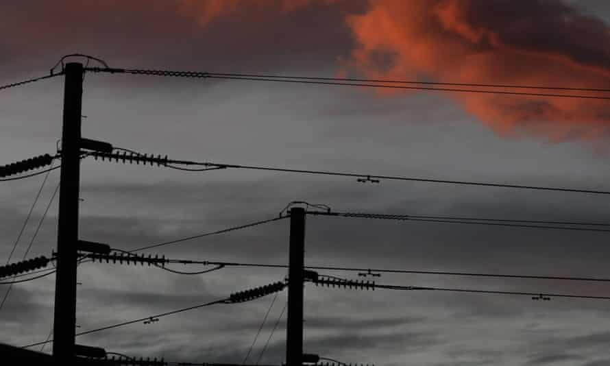Power lines over houses