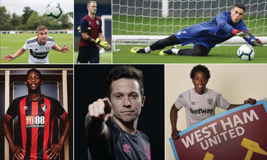 Clockwise from top left: Fulham's Joe Bryan, Burnley's Joe Hart, new Chelsea keeper Kepa, West Ham's Carlos Sánchez, Everton's deadline day signing Bernard, and Bournemouth's Jefferson Lerma.