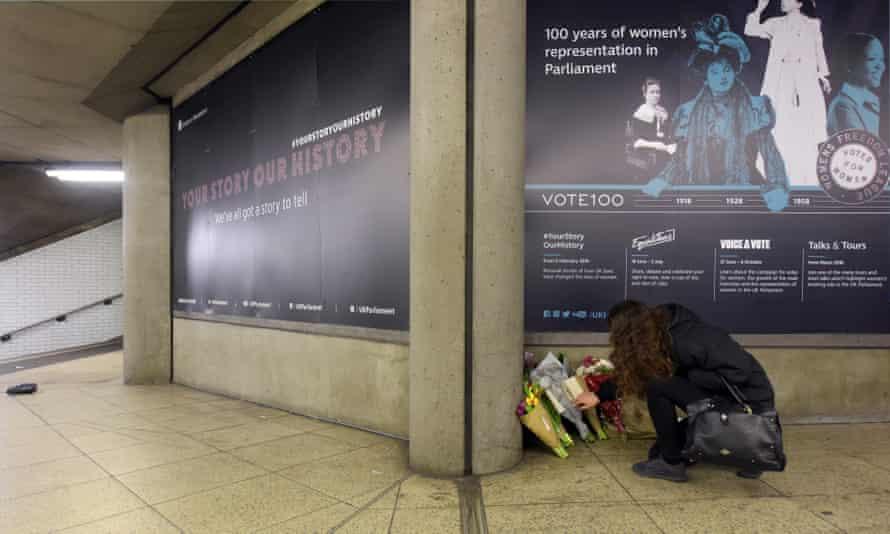 A shrine at Westminster underground station.