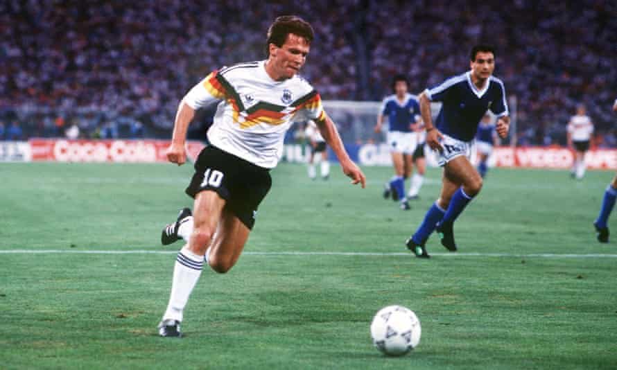 Lothar Matthäus in action during West Germany's victory over Argentina in the 1990 World Cup final. He was one of several members of the team playing in Serie A.