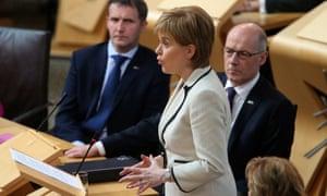 Nicola Sturgeon  addresses Holyrood on Tuesday