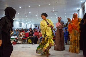 Local and diaspora women take part in a demonstration of Sitaad, a form of female devotional dance and song at the Hargeisa International Book Fair