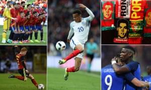 Spain; Dele Alli; Portugal scarves; Paul Pogba and Olivier Giroud; Kevin De Bruyne.