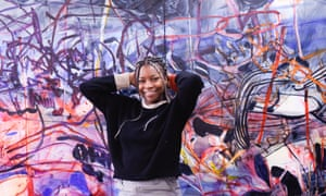 Jadé Fadojutimi with an unfinished work in her London studio