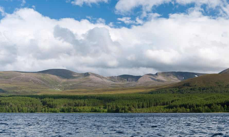 The view across Loch Morlich to Cairn Gorm and the northern corries.