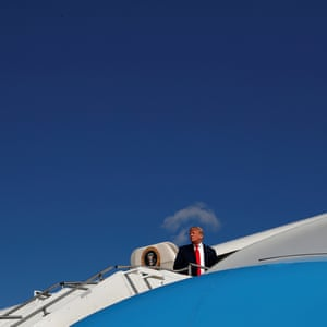 Donald Trump boards Air Force One at Morristown airport in New Jersey