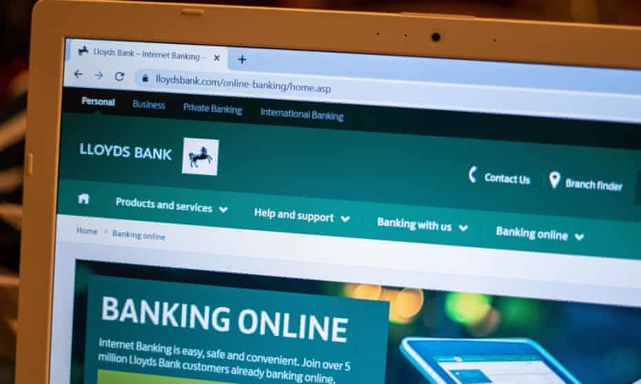 Lloyds bank online banking homepage shown on a computer