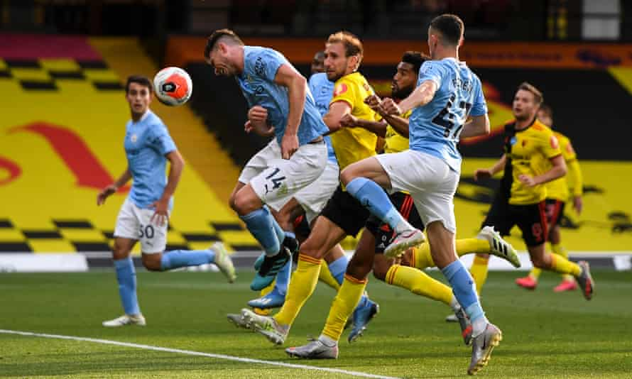 Aymeric Laporte heads in to bring up Manchester City's fourth and final goal against Watford.